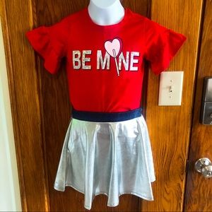 Other - Girls Red & Silver Valentine's Day Outfit Size 8